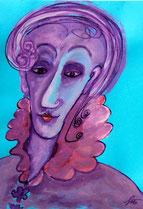 Kunstpost filigranes Gesicht- mit lila, schwarzer Tusche und Gouache auf hellblauem Briefumschlag