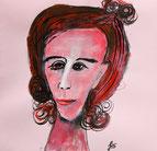 Gouache und Tusche auf rosa Briefumschlag