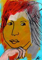 Kunstpost, Gesicht auf gestützter Hand, Gouache, Tusche, Deckfarbe auf hellblauem Briefumschlag