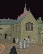 Templiers se rendant à la messe de Noël - Les voyages de Jhen - Les Templiers - Ed. Casterman