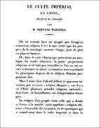 Fernand Farjenel. Culte impérial en Chine. Culte des ancêtres.