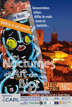 Nocturnes d'art de Biot, exposition d'art nocturne, expo à ciel ouvert, live music dans village provençal, sortir le soir, ateliers enfants, peintres, sculpteurs, ceramistes...