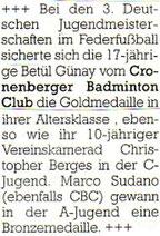 Cronenberger Anzeiger Bericht vom 08.11.2005 Jugend DM