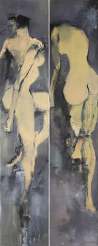 人体四季之双人舞VI BODY OF THE SEASONS - TWO DANCERS VI 200X80CM 布面油画 OIL ON CANVAS 2007