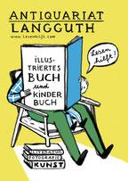 Heike Herold, Illustration, Grafik, Antiquariat Langguth, Köln, Postkarte, Anzeige