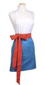 Elegante Damenschürze in blau, weiss und orange