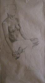 Aktzeichnungen einer sitzenden Frau, lebensgroß, Bleistift