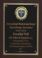 IMDHA Life Fellow in Hypnotherapy award