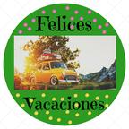 Cartel circular de felices vacaciones
