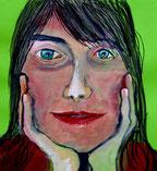Auf zwei Händen aufgestütztes Frauengesicht. Tusche, Gouache, auf grünem Briefumschlag