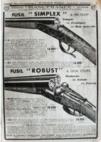 Page du catalogue Manufrance : fusils Robust et Simplex