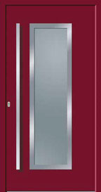 Feba Kunststoffhaustür Model Klagenfurt Weinrot außen Edelstahlrahmen erhaben, innen Glashalterahmen Edelstahl Griff EASF 1600 mit geraden Stützen Glas Satinato