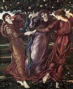 Jardin des Hespérides de E. Burne-Jones (Source Téléversé par Shuishouyue.Wikimedia).