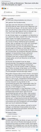 Faßmann zu Kritik an Ministerium: Abputzen und abstruse Schuldzuweisungen  Scrsht:https://www.facebook.com/groups/bildungsportal