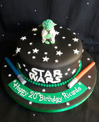 Star Wars Cake with Yoda cake topper