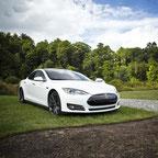 weißer Tesla geparkt auf einem Rasenstück
