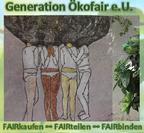 Logo Generation Ökofair e.U.: vier handgezeichnete Menschen unterschiedlicher Hautfarbe stecken die Köpfe zusammen, so dass sich ihre Haare zu einer großen Gedankenbalse verbinden.  Untertitel: FAIRkaufen - FAIRteilen - FAIRbinden