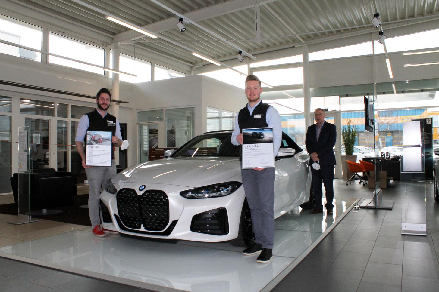 v.l.n.r. Fabian Hösch, Maximilian Huhnstock, Anton Herner (BMW AG)