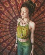 Rotes Mandala Wandtuch als Foto Hintergrund