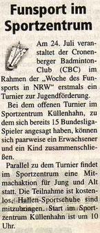 Cronenberger Woche Bericht vom 23.07.2004