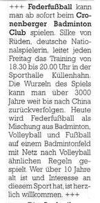 Cronenberger Anzeiger Bericht  vom 22.10.2002