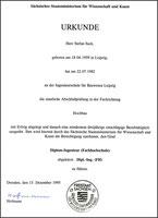 Diplom-Urkunde (1982)