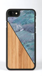 iphone 7 case bamboo and blue nacre front