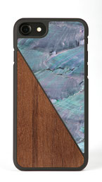 iphone 7 case walnut wood and blue nacre front