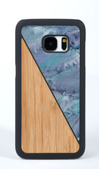 Galaxy s7 case bamboo wood and blue nacre front