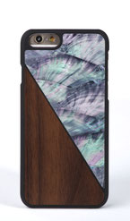 iphone 6 6s case walnut wood and blue nacre front