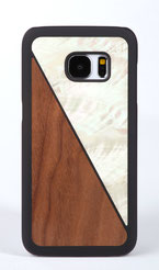 Samsung Galaxy s7 edge case walnut wood and white nacre front