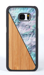 Galaxy s7 edge case bamboo wood and blue nacre front