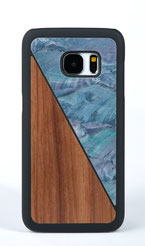 Galaxy s7 case walnut wood and blue nacre front