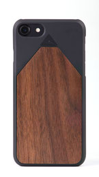 iphone 7 flip case walnut wood front
