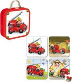 Valise 4 Puzzles Le camion de Léon (pompiers) 6, 9, 12 et 16 pièces