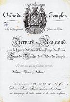 Décret de Bernard-Raymond, grand maître du Temple, conférant au grand prieur Pierre Béatrix, le titre de ministre de l'Ordre, grand sénéchal, 2 mai 1821.