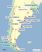 Bild: Karte der Rundreis durch Argentinien