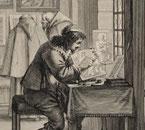 Abraham Bosse, L'atelier du graveur (détail), eau forte, 1643, BNF, Gallica / in livret adulte Musée B-d-P