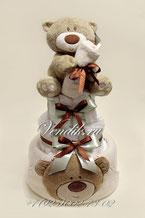 """Торт из памперсов с махровым полотенцем и рукавичкой для купания """"Медвежонок"""""""