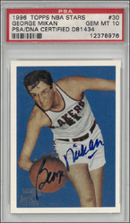 GEORGE MIKAN / Topps Autograph Issue - No. 30