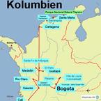 Bild: Karte der Reiseroute durch Kolumbien