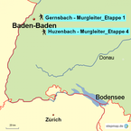 Bild: Karte Wanderungen bei Baden-Baden