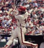 Pete Rose had three of the Phils' four hits.