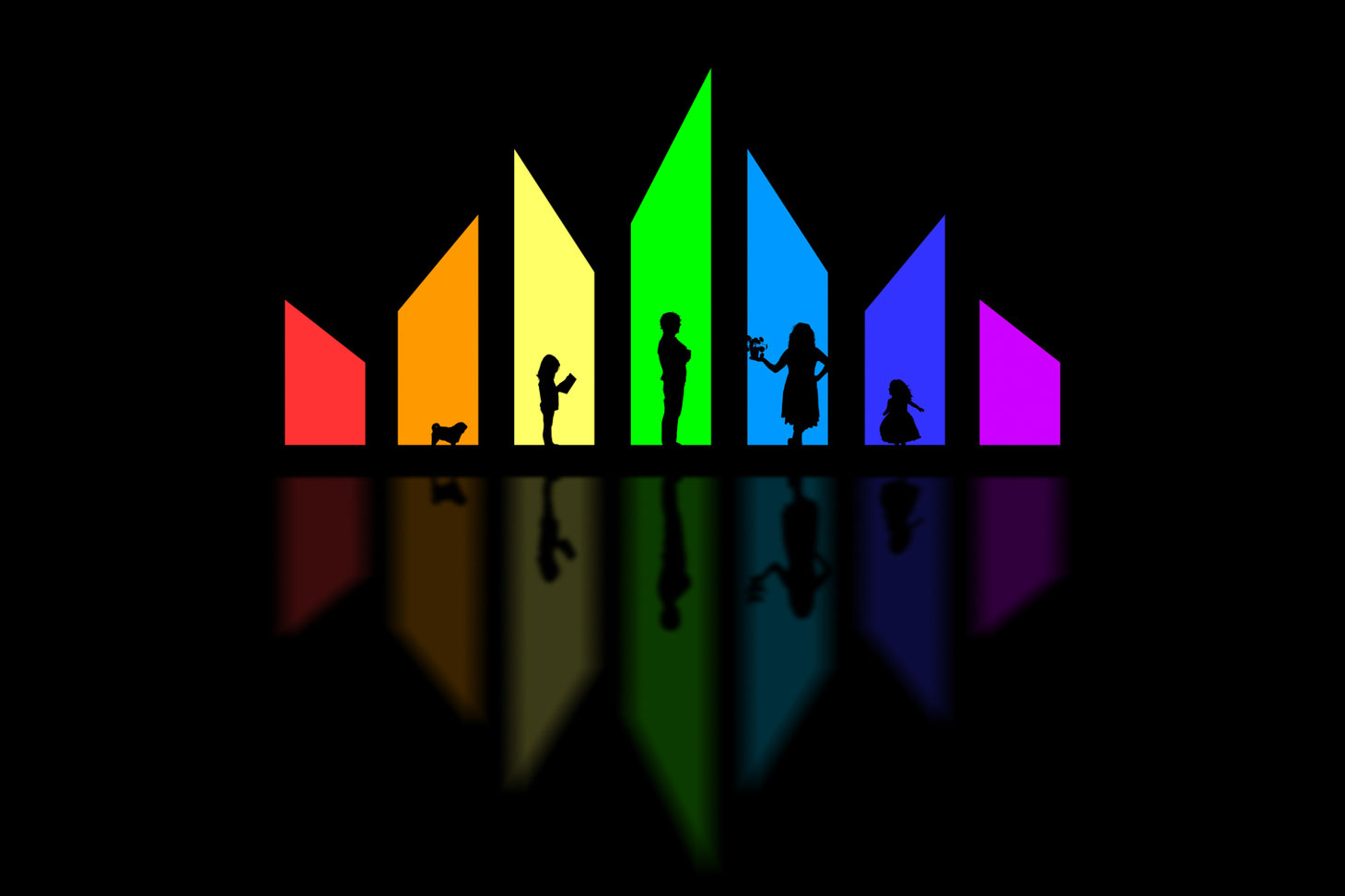 silhouettes of 2 parents, 2 kids, and one dog in rainbow coloured stained glass windows. Their reflections are on the floor.