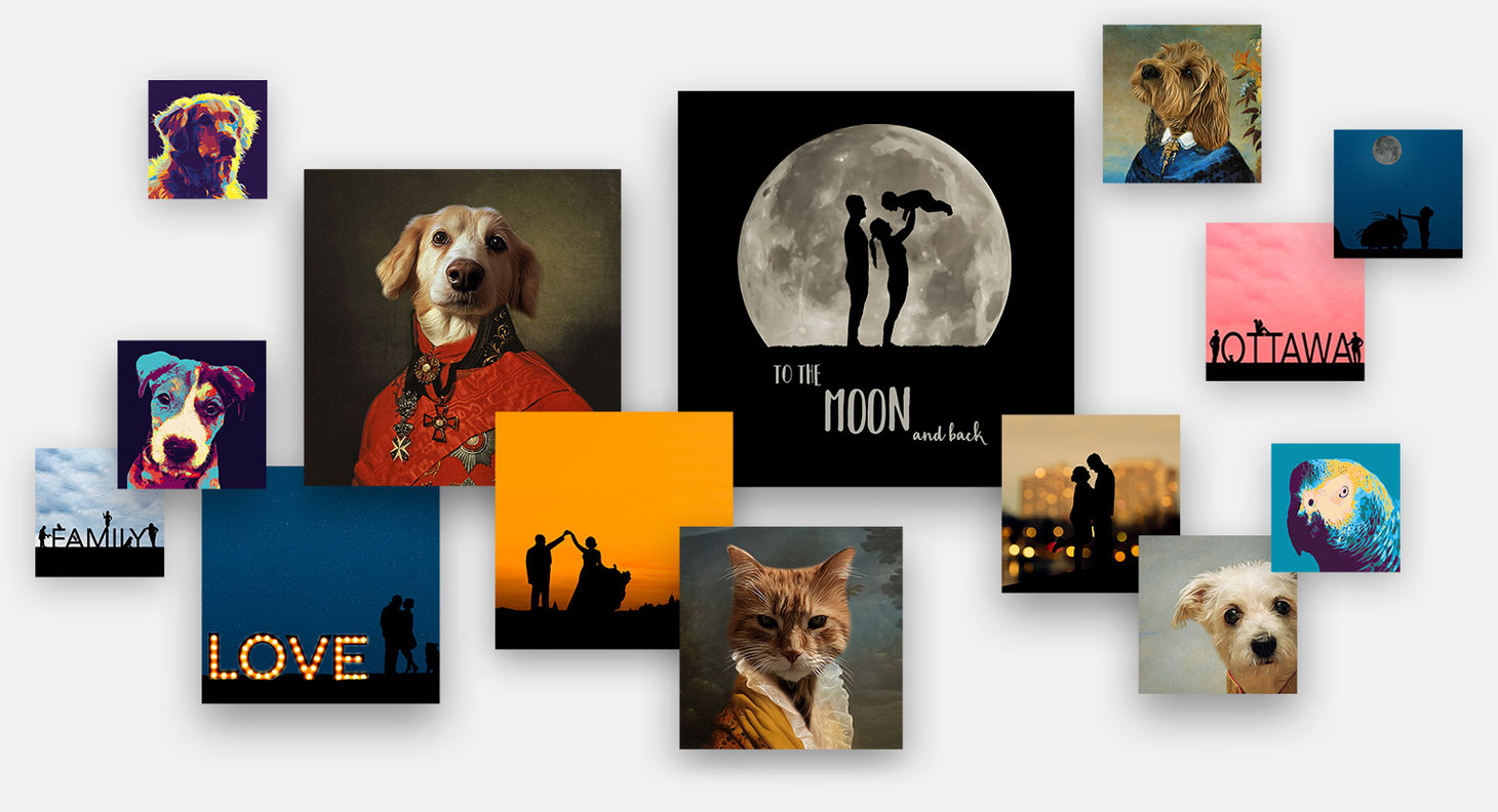 Collage of digital art options including silhouettes and portraits of dogs and cats in regal costumes
