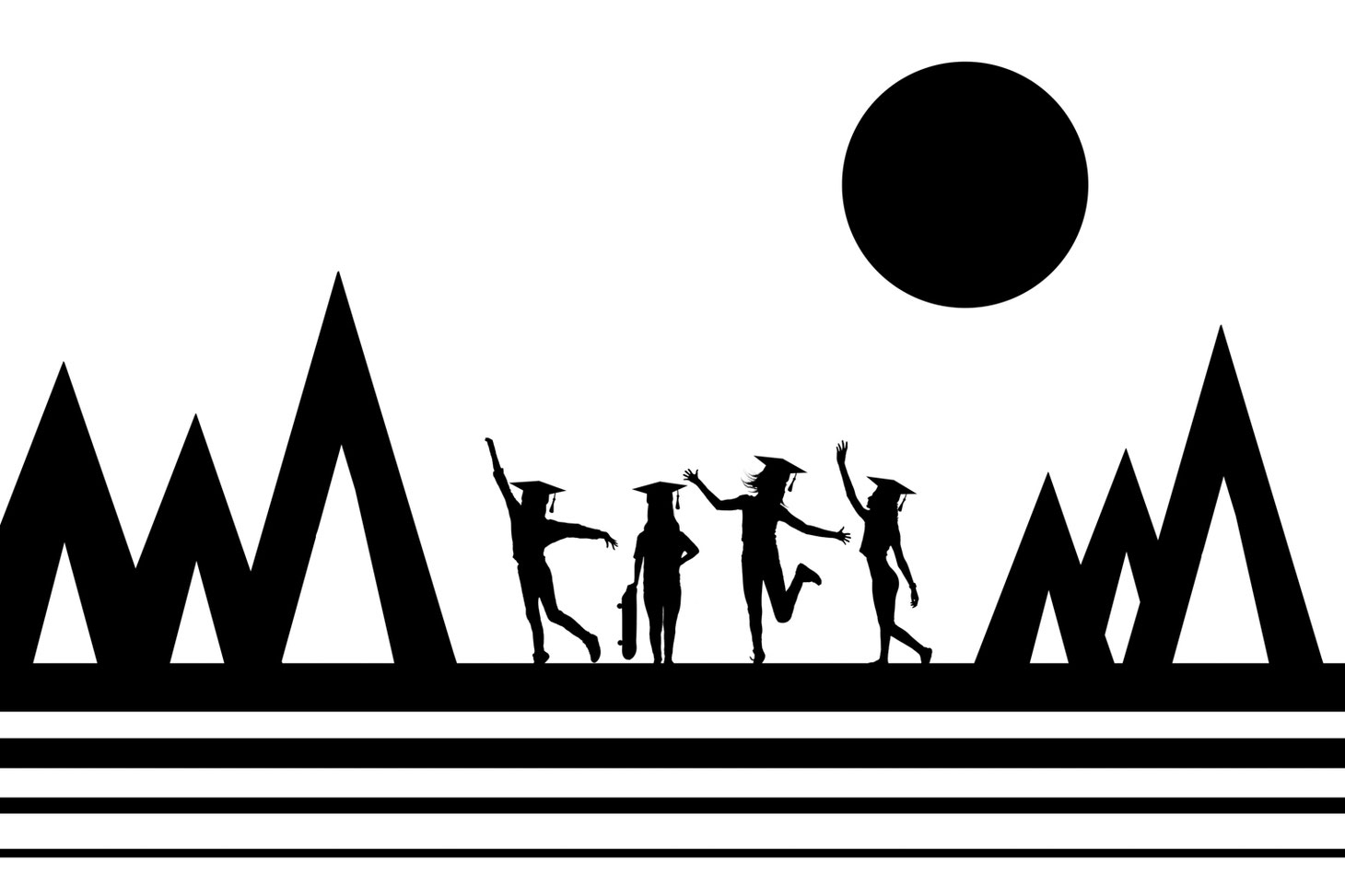 silhouettes of 4 girls on a black and white abstract digital backdrop of lines, triangles, and a circle for a sun. Image is black and white.