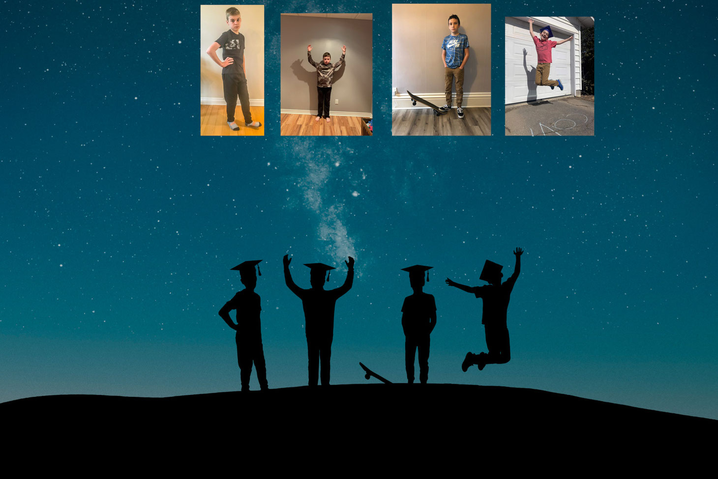 silhouettes of 4 boys in graduation caps against a teal sky with the milky way