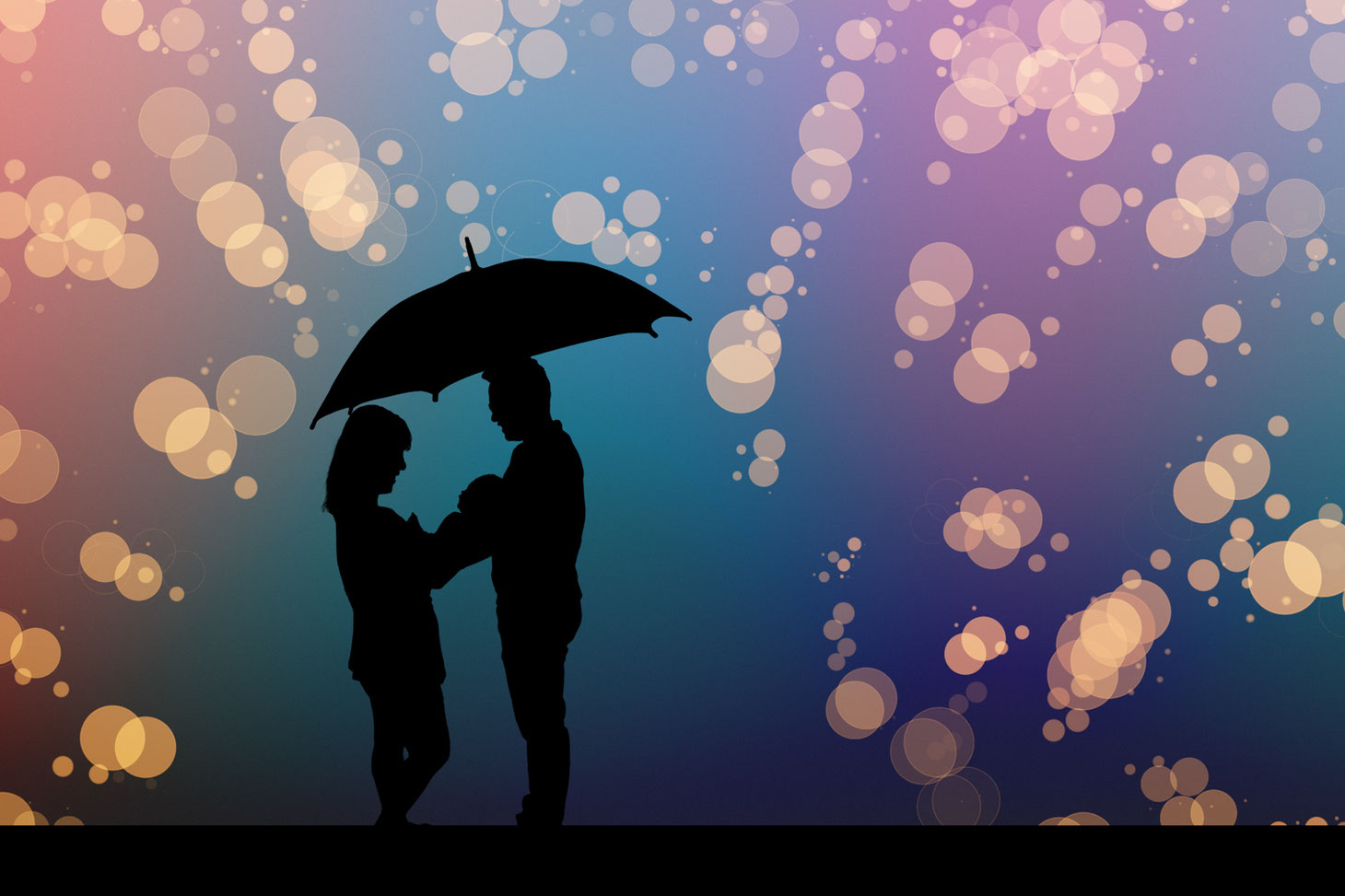 silhouettes of mom, dad, and small baby with an umbrella. Background is an out of focus rainbow. Parents are holding an umbrella shielding them from dropping gold glitter.