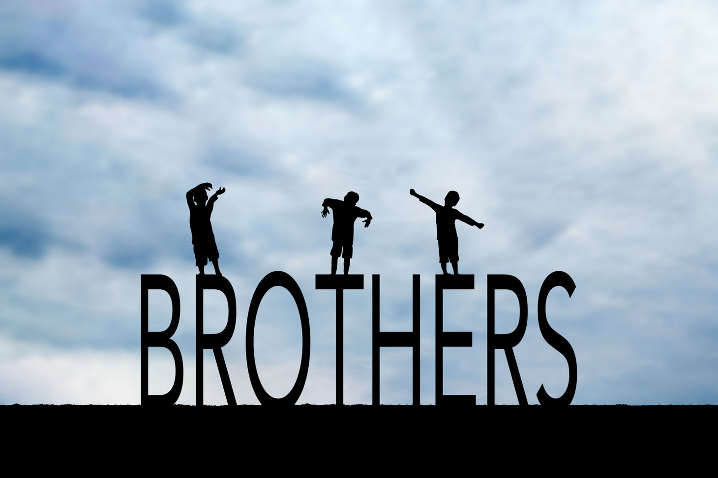 silhouettes of 3 boys on the letters BROTHERS. Sky is blue.