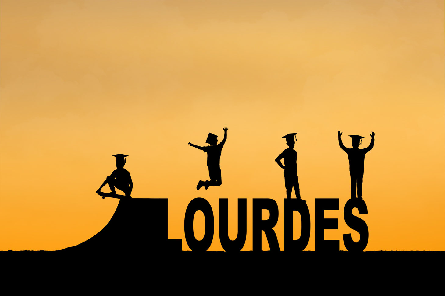silhouettes of 4 boys in grad caps on top of the letters lourdes. The sky is orange. There is a skateboard ramp next to the L